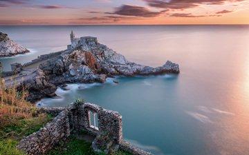 скалы, развалины, пейзаж, море, маяк