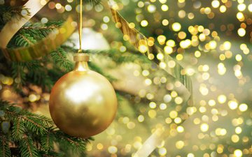 новый год, елка, блики, шар, рождество