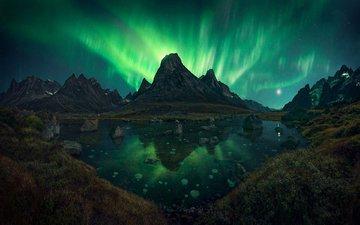 ночь, озеро, горы, природа, пейзаж, северное сияние