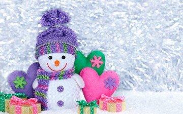 снег, новый год, подарки, снеговик, рождество, сердечки