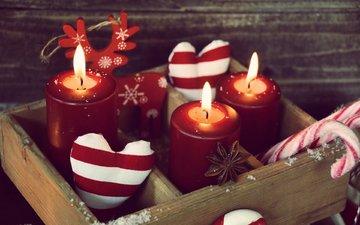 свечи, новый год, украшения, конфеты, рождество, сердечки, леденец, ящик