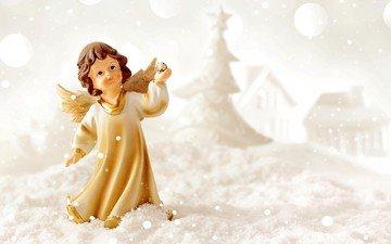 снег, новый год, зима, ангел, рождество