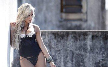 девушка, блондинка, модель, волосы, белье, фотосессия, ариана стейнкопф