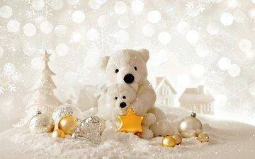 снег, новый год, елка, зима, домики, мишки, шарики, игрушки, рождество, елочные игрушки, медведи, звездочка