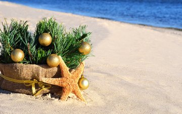 new year, tree, balls, sand, beach, basket, christmas, christmas decorations, starfish, burlap