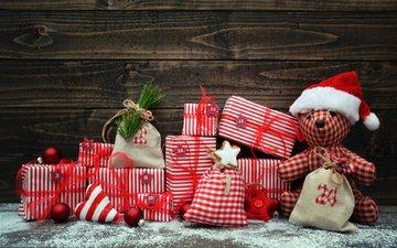 снег, новый год, шары, звезды, сердечко, подарки, мишка, игрушки, праздник, деревянная поверхность