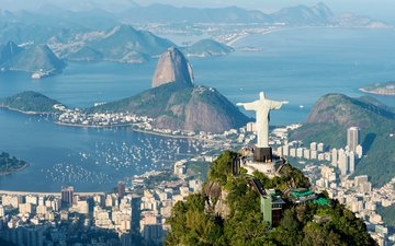панорама, город, бразилия, рио-де-жанейро