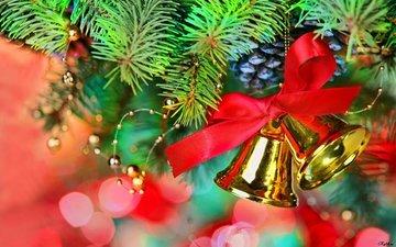 новый год, елка, хвоя, колокольчики, рождество, шишки, декор