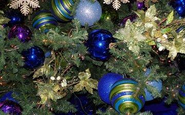 новый год, елка, шары, хвоя, рождество, елочные украшения