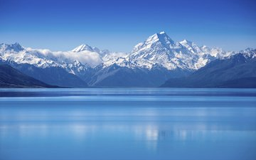 небо, озеро, горы, пейзаж, снежная вершина