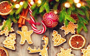 новый год, елка, хвоя, корица, апельсин, рождество, печенье, выпечка, леденец