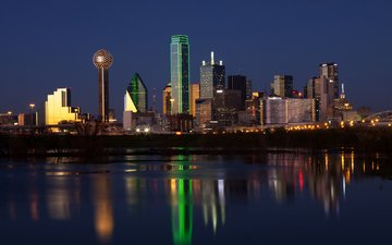 night, lights, the city, usa, dallas, aneese
