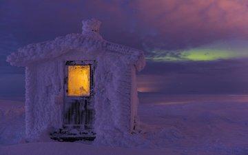 свет, ночь, снег, зима, пейзаж, домик, арктика, gunar streu