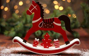 новый год, елка, рождество, лошадка