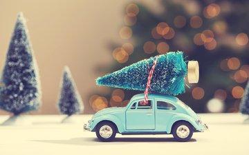 новый год, рождество, ёлочка, машинка