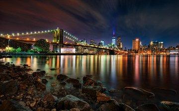 ночь, огни, мост, город, сша, нью-йорк, бруклинский мост