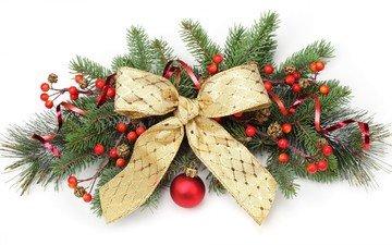 новый год, рождество, венок, бант
