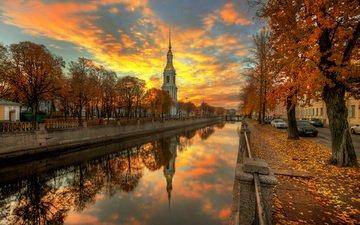 river, sunset, the city, autumn, russia, saint petersburg, chapel