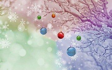новый год, шары, зима, снежинки, рождество