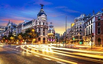 ночь, огни, город, движение, испания, мадрид, ventdusud