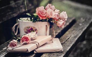 цветы, розы, подарки, скамейка, букет