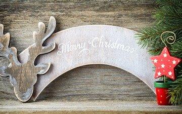новый год, елка, украшения, хвоя, ветки, звезда, рождество, декор, деревянная поверхность