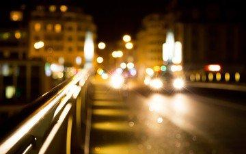 свет, дорога, ночь, огни, город, дома, улица, размытость, машины, фары, боке