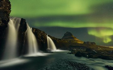 river, mountains, nature, waterfall, northern lights, iceland, etienne ruff