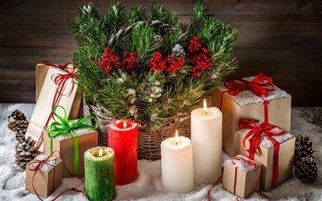 снег, свечи, новый год, елка, украшения, подарки, рождество, шишки
