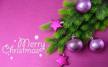 новый год, елка, шары, хвоя, фон, звезды, ветки, рождество