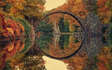 деревья, река, природа, лес, отражение, мост, осень, германия, саксония, чёртов мост, мост ракотцбрюке