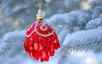 снег, новый год, елка, хвоя, зима, ветки, шар, рождество