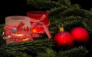 свечи, новый год, елка, шары, хвоя, ветки, рождество, декор, wolfgang mücke