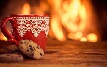 кофе, кружка, камин, печенье, выпечка
