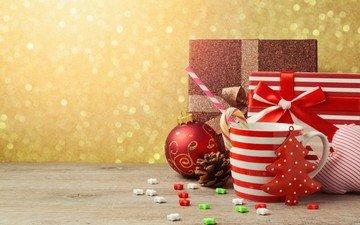 новый год, шары, украшения, конфеты, кружка, подарок, рождество, елочные игрушки, ёлочка