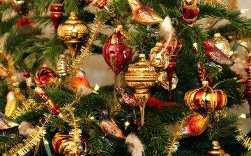 новый год, елка, рождество, елочные игрушки, гирлянда, мишура