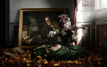 leaves, girl, picture, violin, music, autumn, room, creative