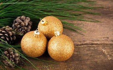 новый год, шары, рождество, шишки, деревянная поверхность