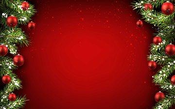 новый год, елка, шары, украшения, хвоя, ветки, рождество, красный фон