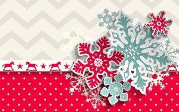 новый год, текстура, снежинки, фон, бумага, узоры, горошек, лошадки