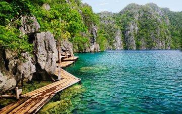 rocks, nature, sea, island, tropics, bridges, philippines