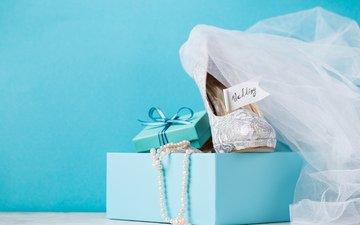 бусы, подарок, свадьба, туфли, коробка, голубая