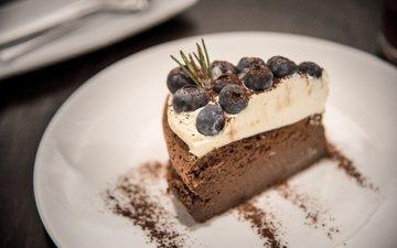 черника, шоколад, десерт, пирожное, крем, шоколадное суфле