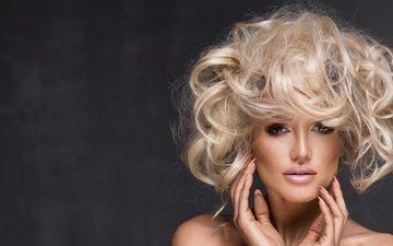девушка, блондинка, модель, волосы, лицо, макияж, прическа