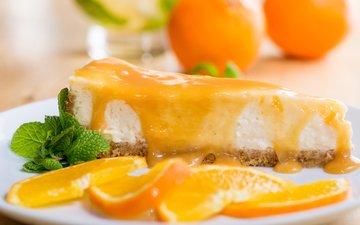 мята, дольки, торт, десерт, чизкейк, апельсиновый сироп