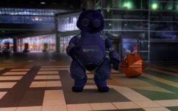 ночь, город, робот, hd