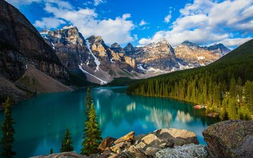 lake, mountains, nature, forest, canada