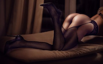 the dark background, stockings, shoes, ass