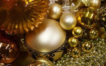 новый год, шары, блеск, бусы, рождество, елочные украшения