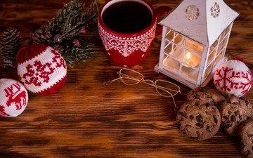 новый год, украшения, очки, кофе, фонарь, рождество, елочные украшения, печенье